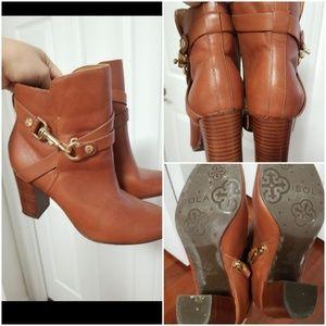 Isola Cognac Leather Booties sz 6.5m